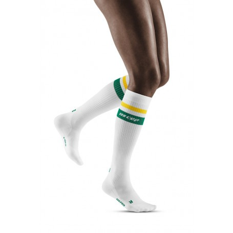 80's Compression Socks - White / Green & Yellow